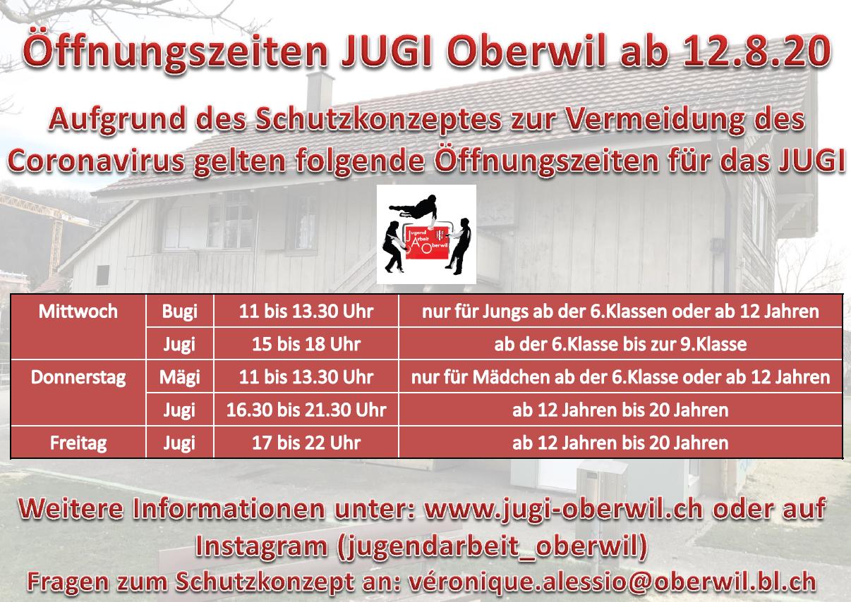 Neue Öffnungszeiten JUGI wegen Corona August 2020