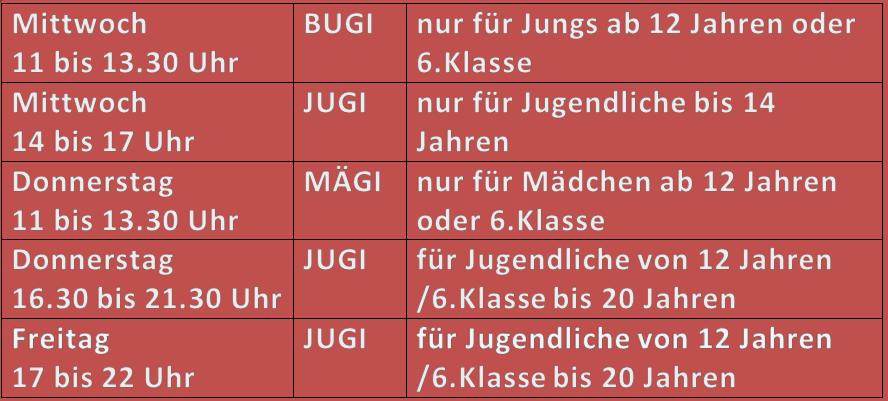 neue öffnungszeiten Jugi 2019 20